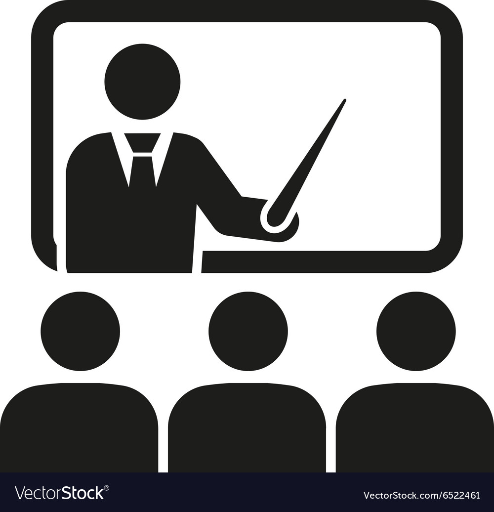 Training icon teacher and learner classroom vector