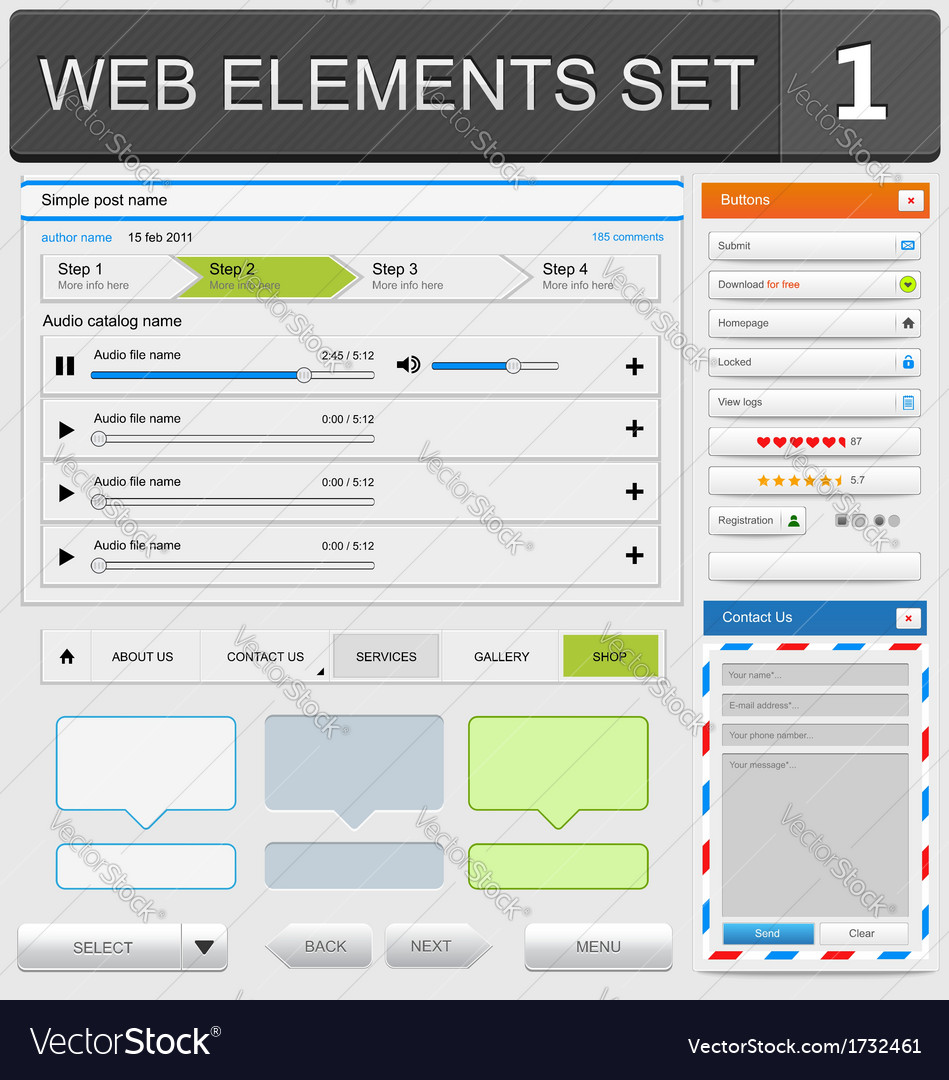 Web elements set1 vector