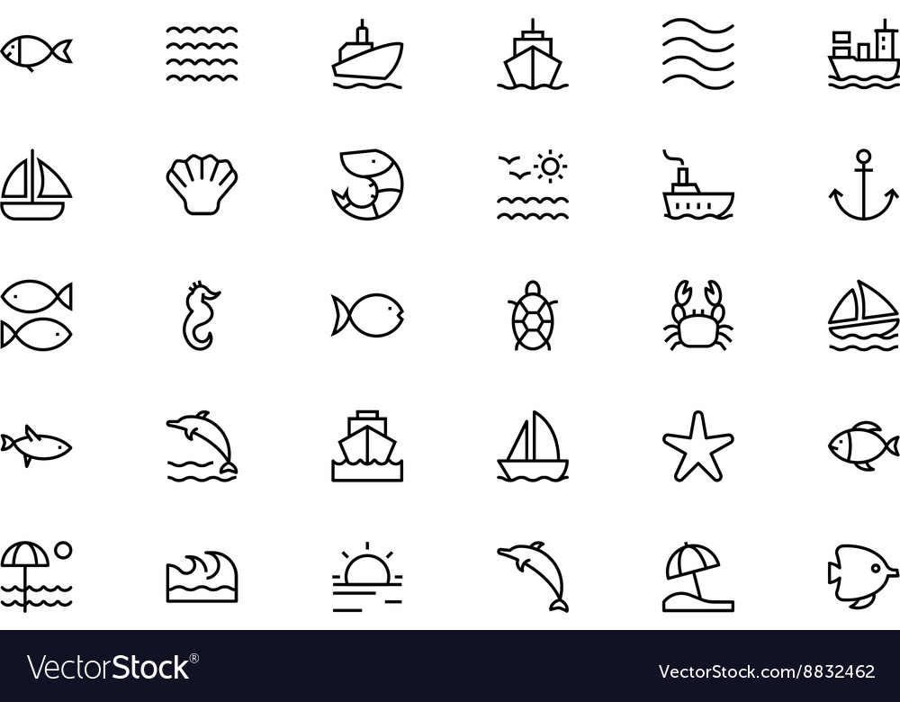 Sea line icons 1 vector