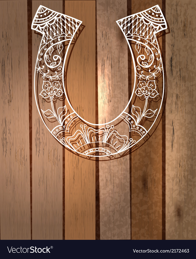 Horseshoe with floral ornament lucky symbol vector