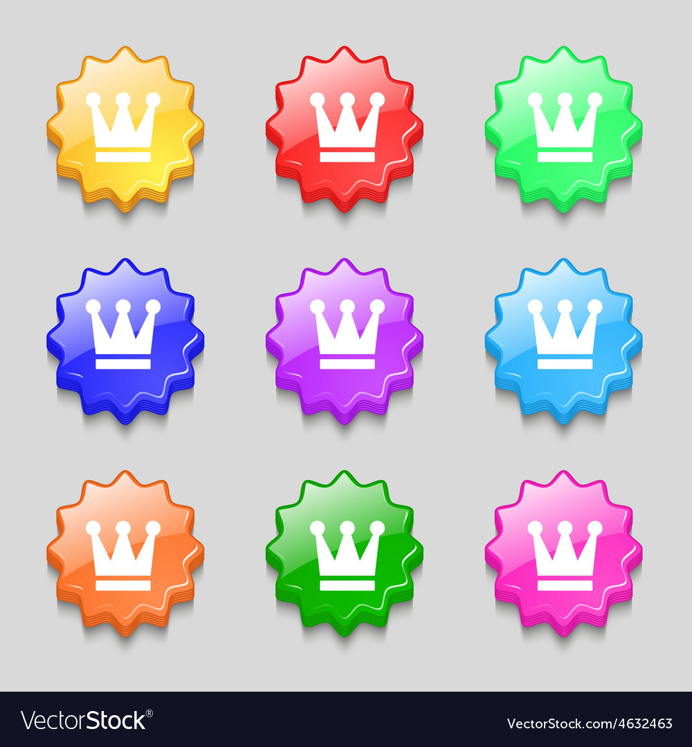King crown icon sign symbol on nine wavy colourful vector