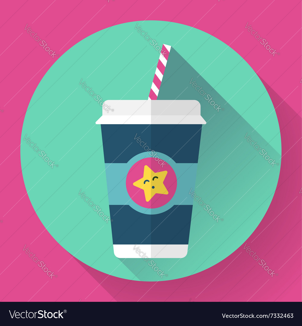 Paper coffee cup with straw hot outdoor drink vector