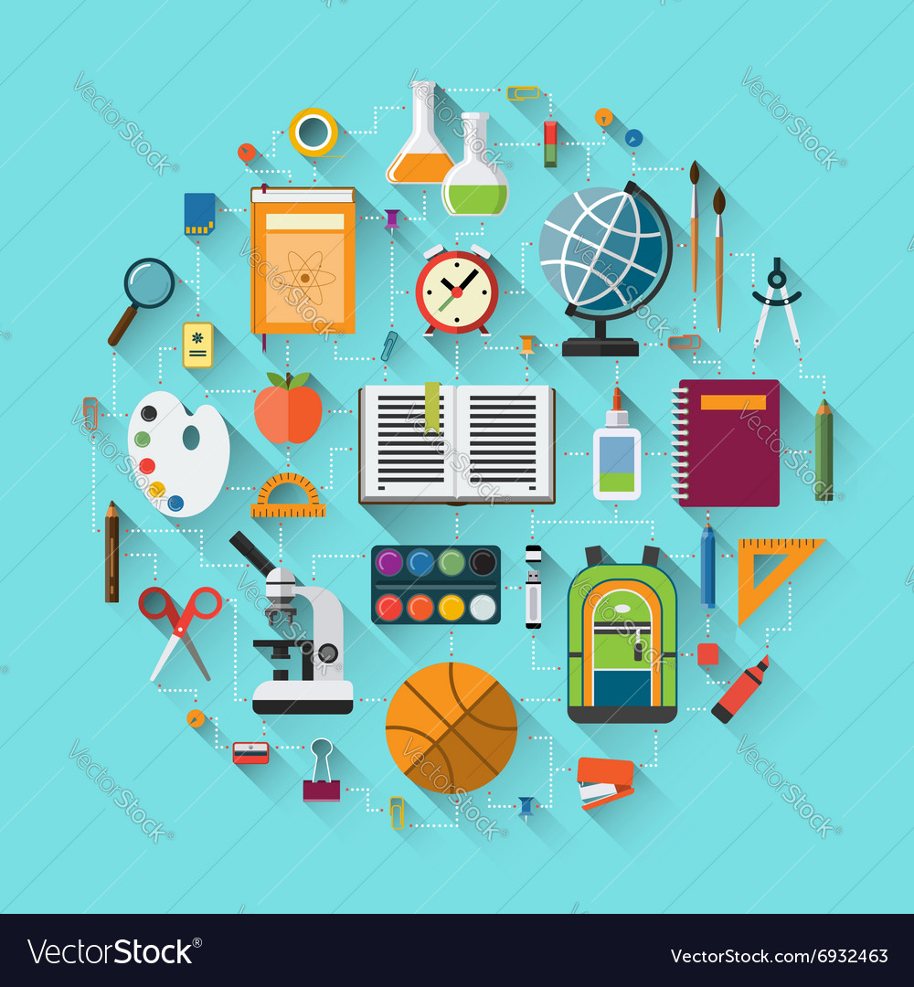 School background with education icons set vector