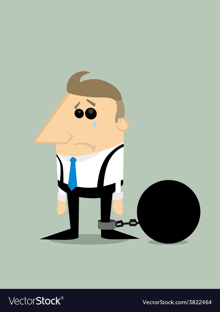 Cartoon businessman locked in a debt ball vector
