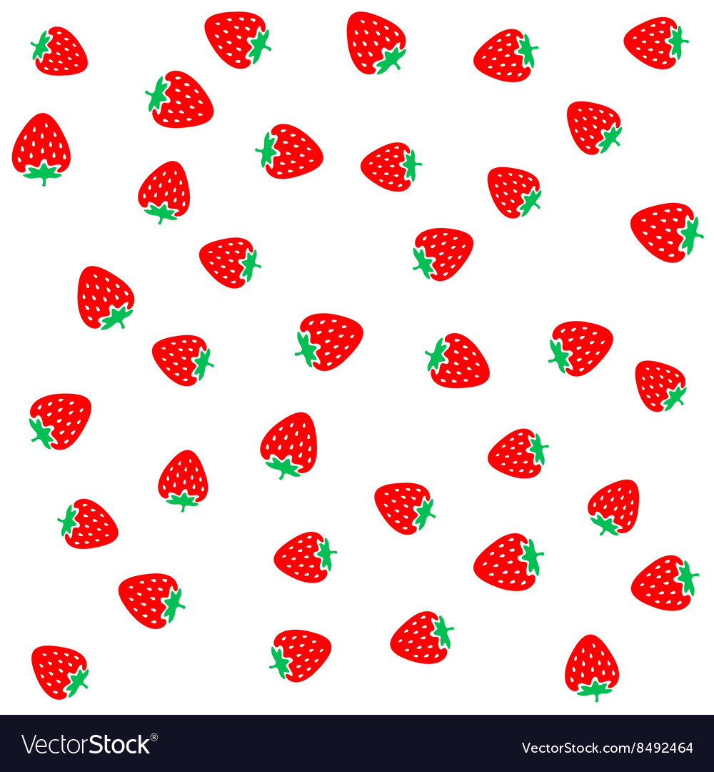 Strawberry berries on a white seamless pattern vector