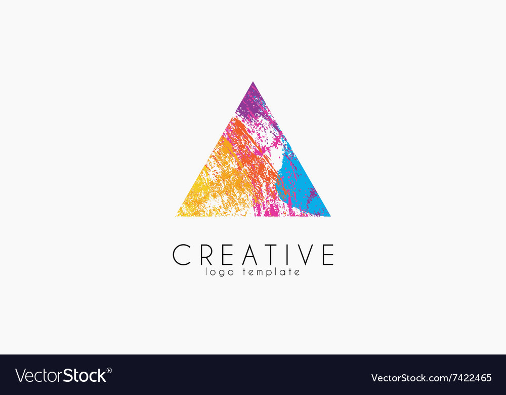 Abstract trendy multicolored logo triangle design vector
