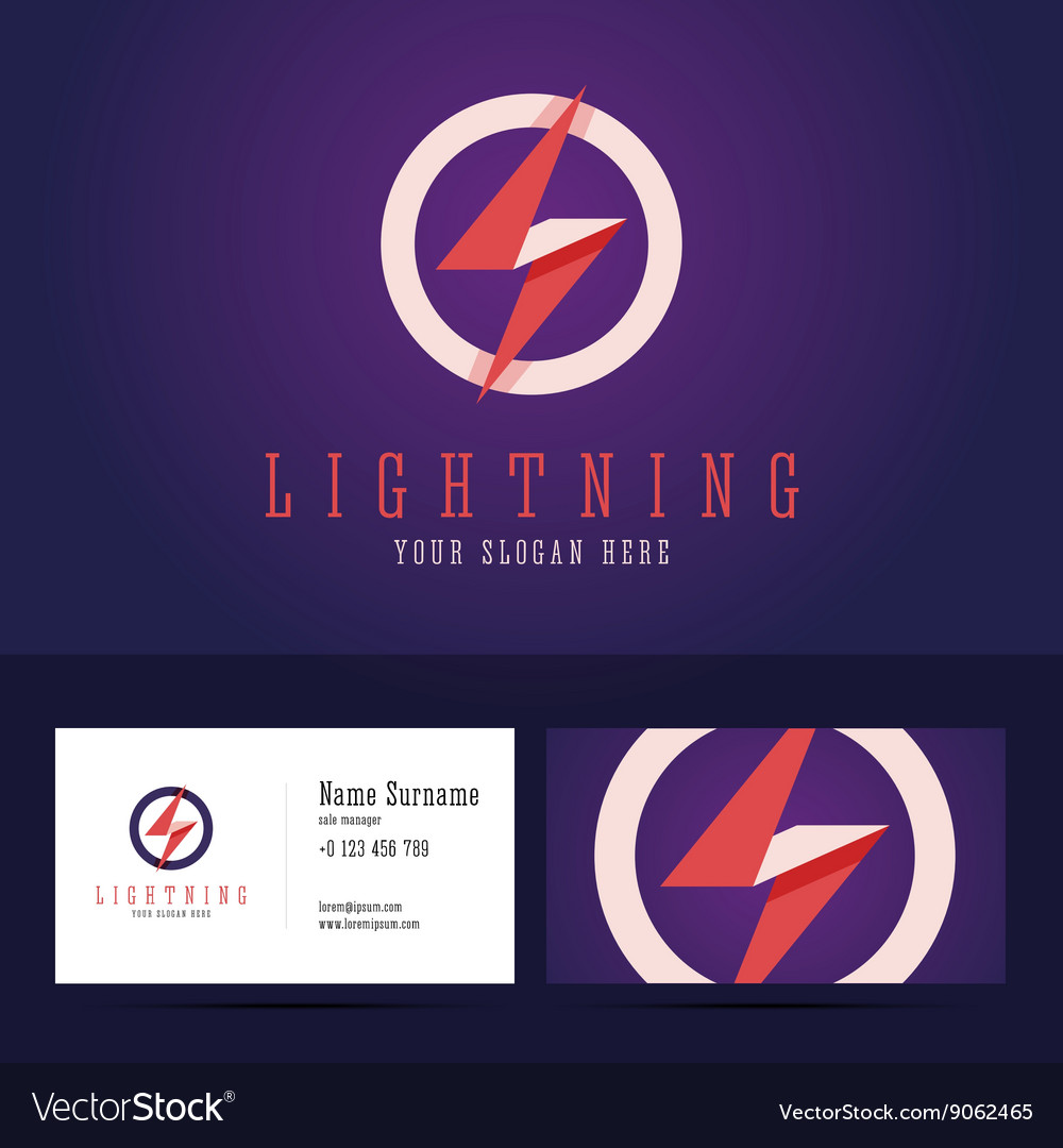 Lightning logo and business card template vector
