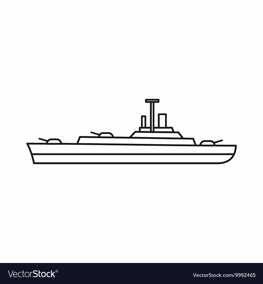 Military navy ship icon outline style vector