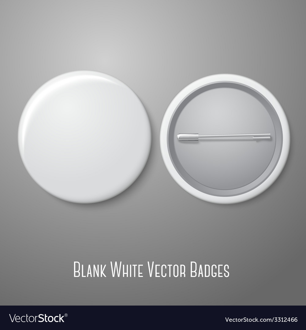 Blank white badge both sides  face and back vector