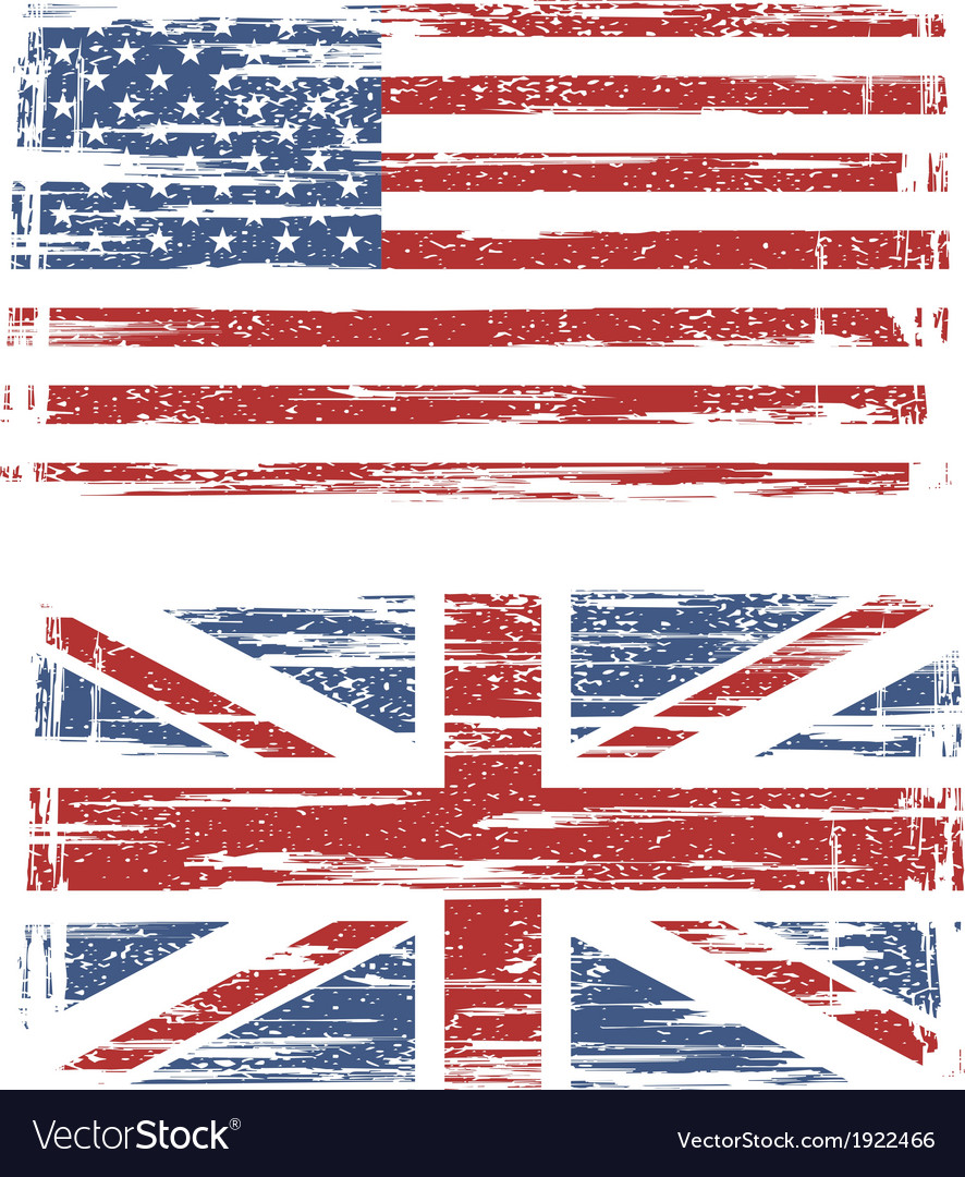 British and american grunge flags vector