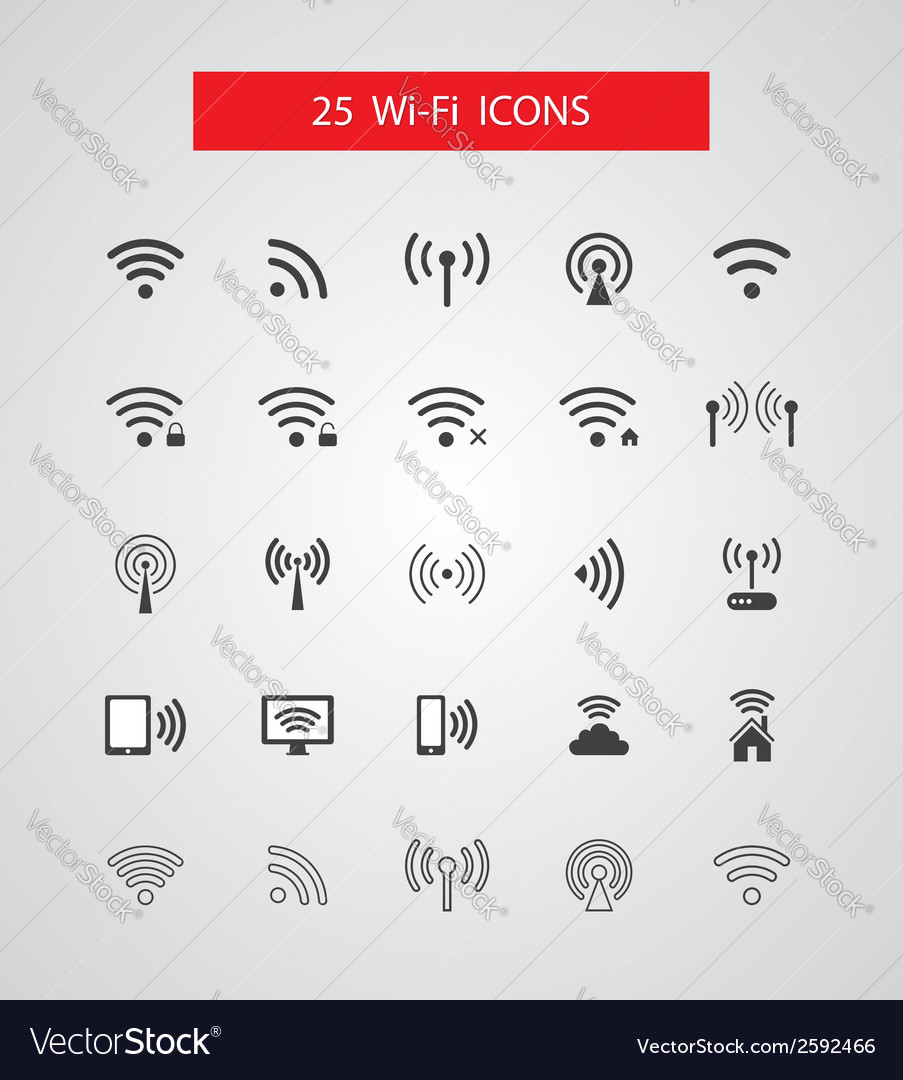 Set of isolated wireless icons vector