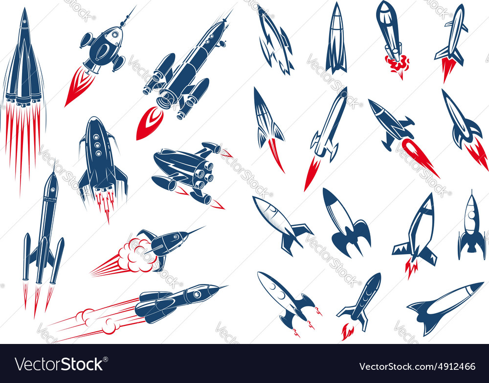 Space rocket ships and military missiles vector