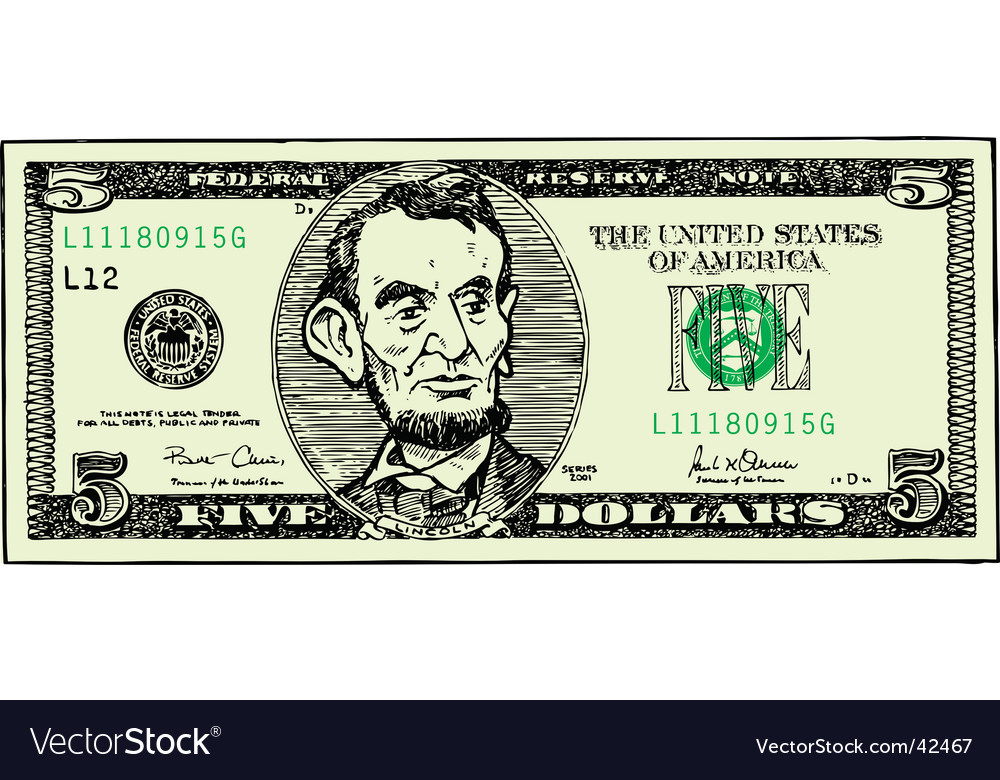 Five dollar bill vector