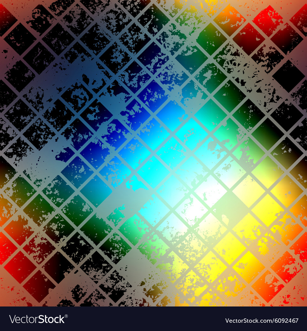 Grunge colored mosaic on blurred background vector