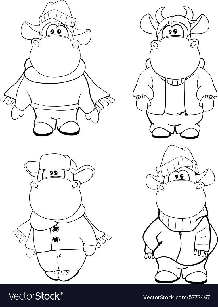 Happy cows clipart cartoon coloring book vector