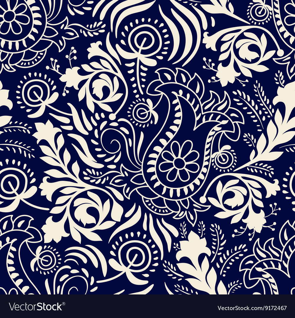 Paisley background in two colors vector