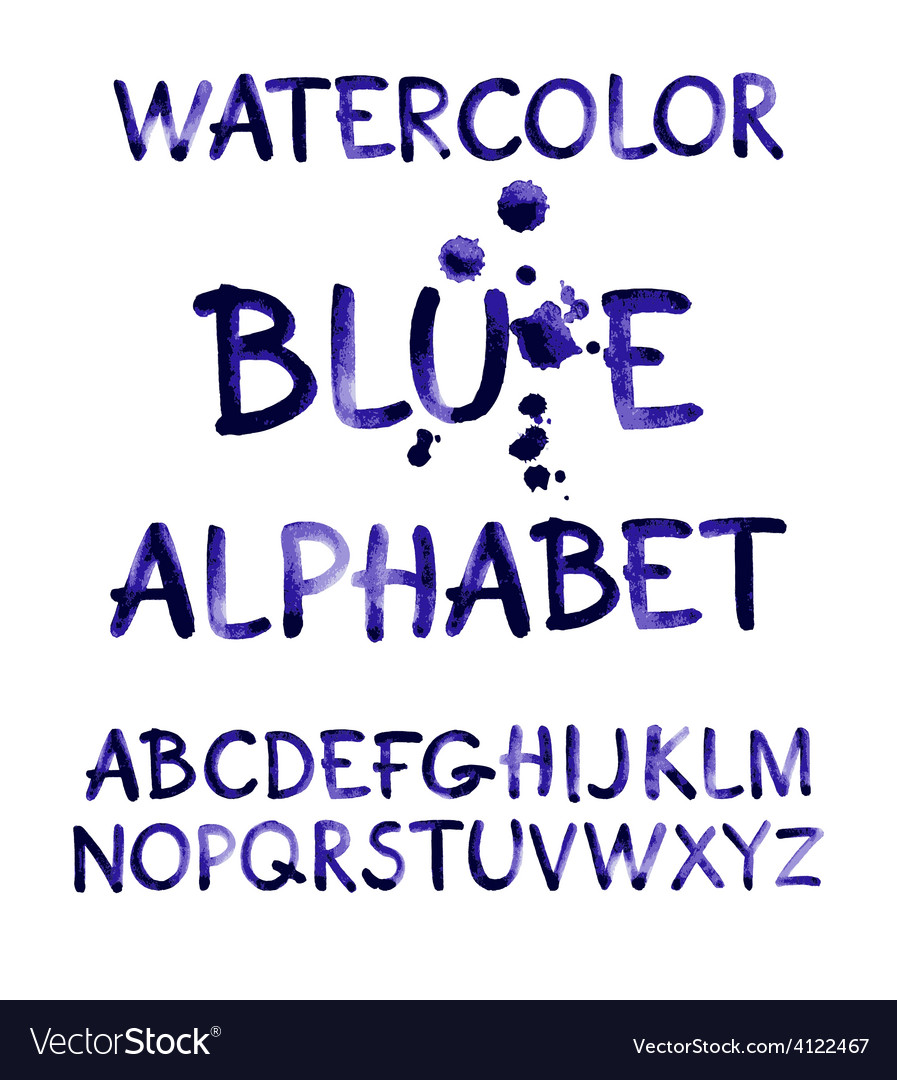 Watercolor hand written purple alphabet vector