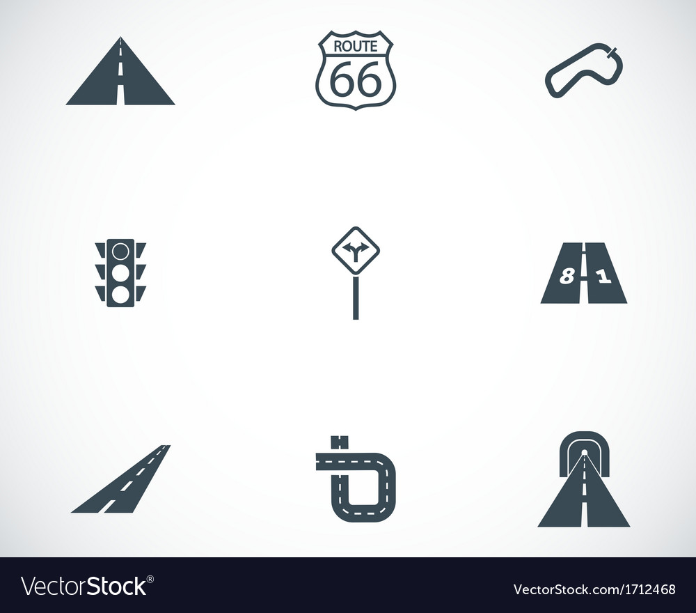 Black road icons set vector