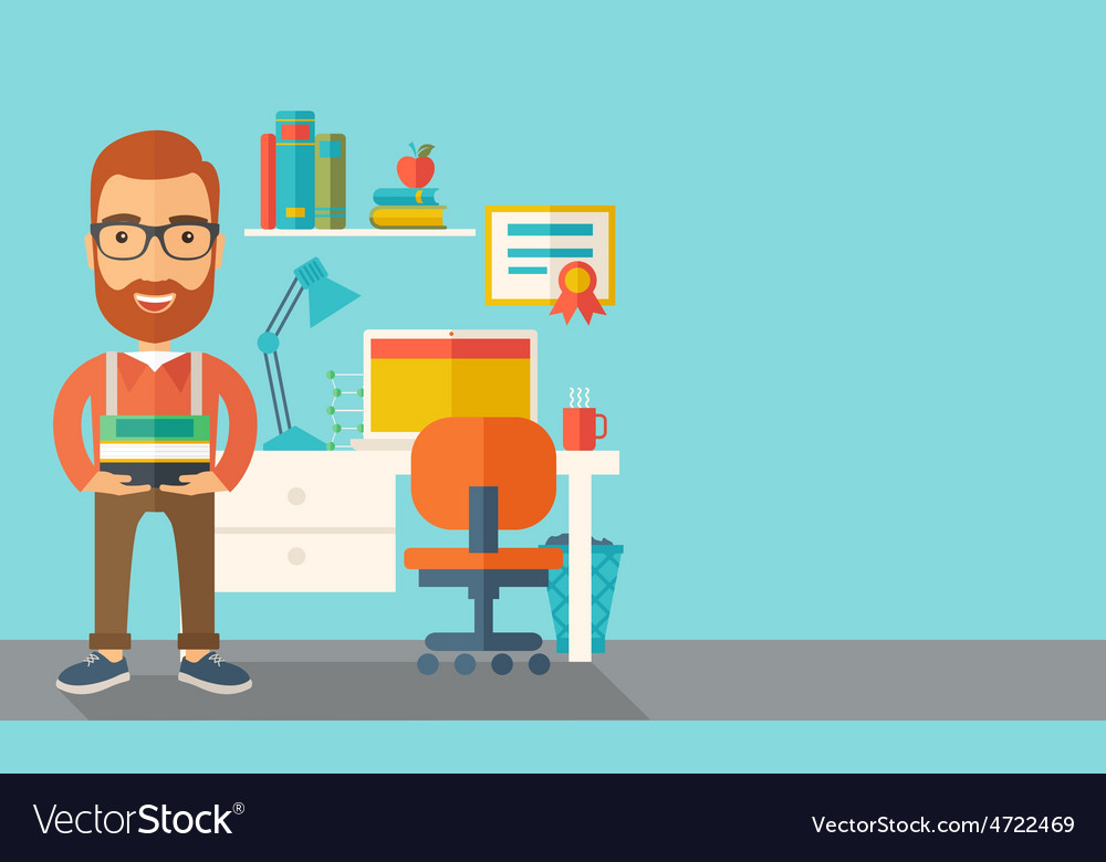 Student or lecturer carrying a stack of books vector