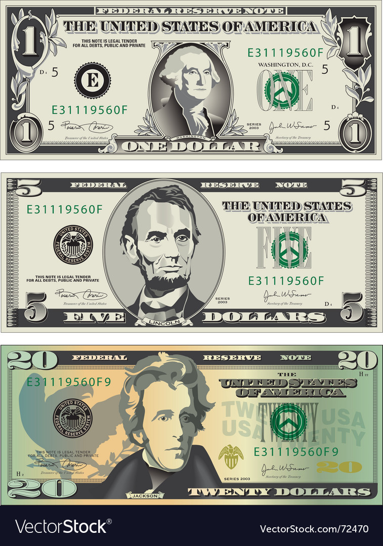 American dollar bills vector