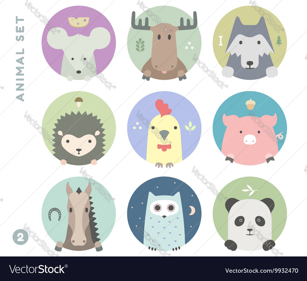 Animal set of colorful portrait in flat graphics vector