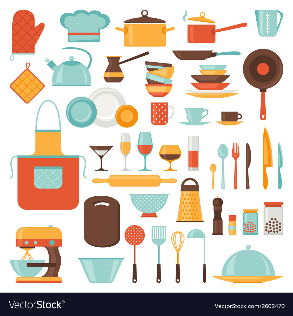 Kitchen and restaurant icon set of utensils vector