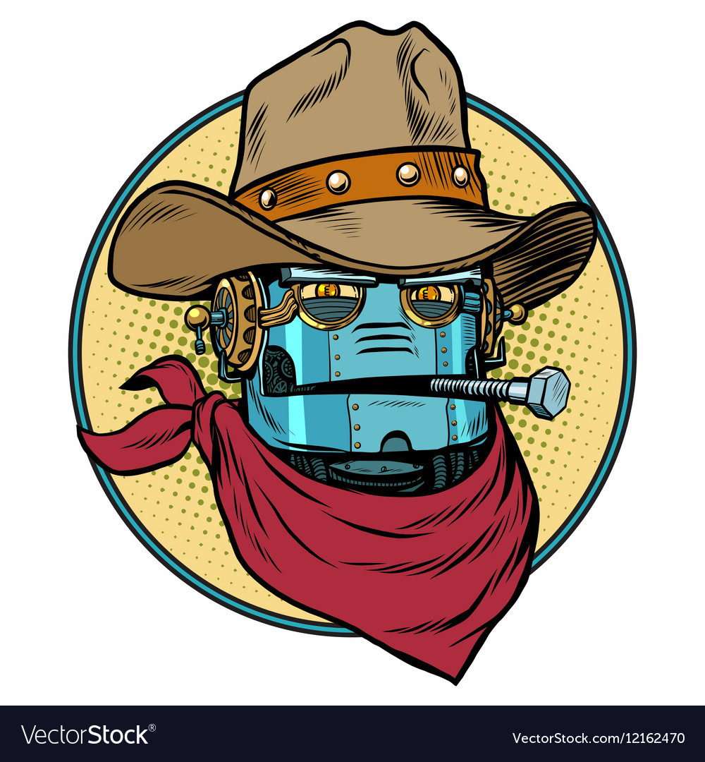 Robot cowboy west wild world vector