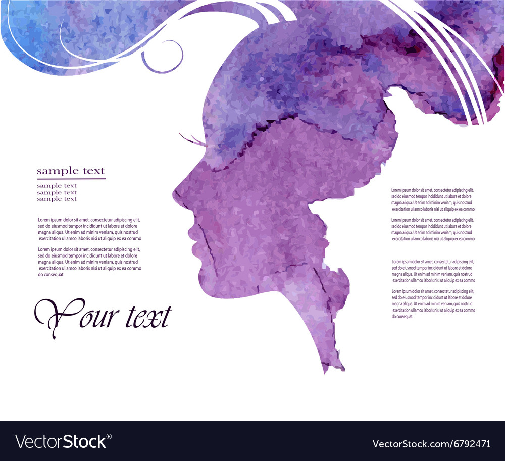 Watercolor fashion woman with long hair vector