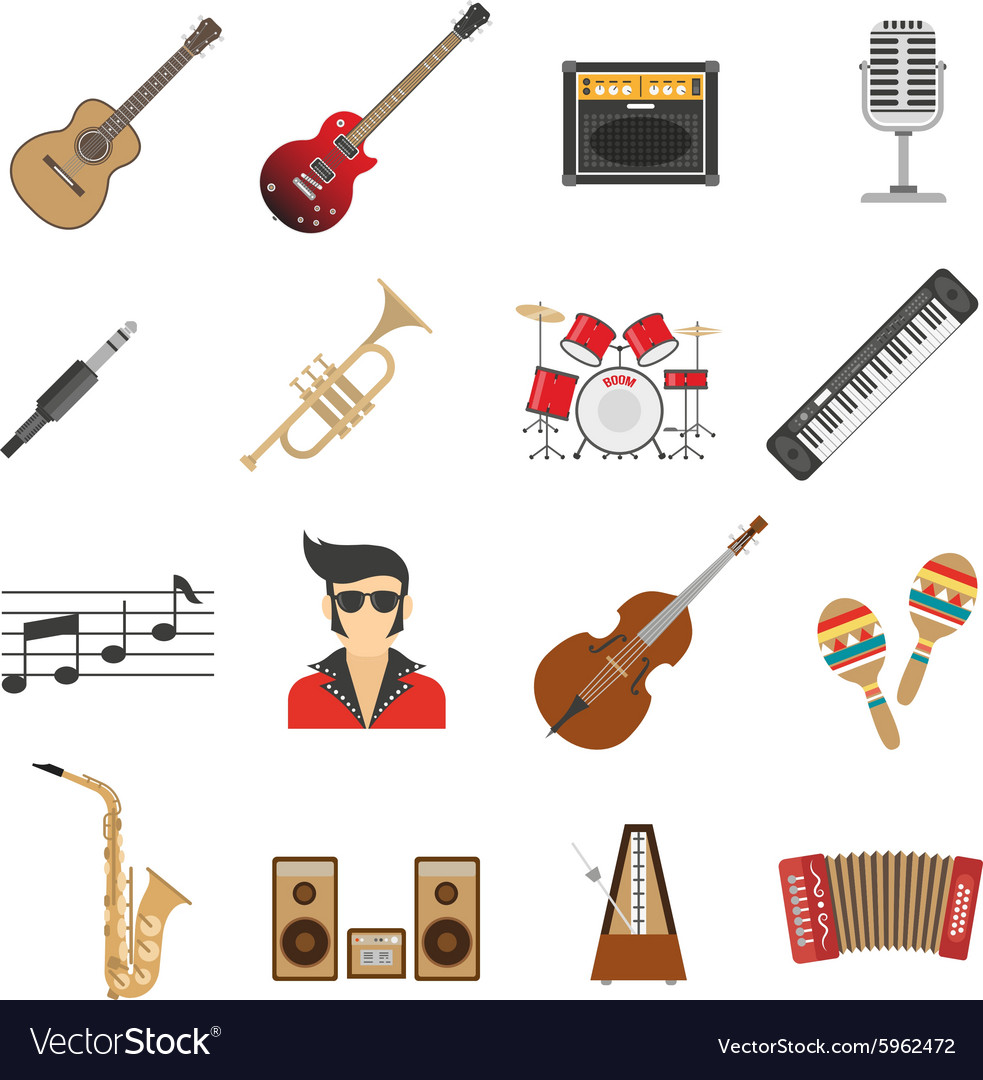 Music icons flat vector