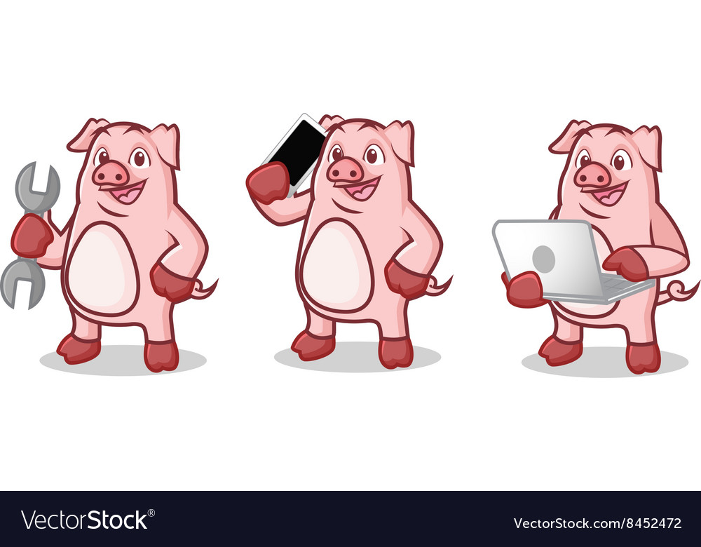 Pink pig mascot with phone vector