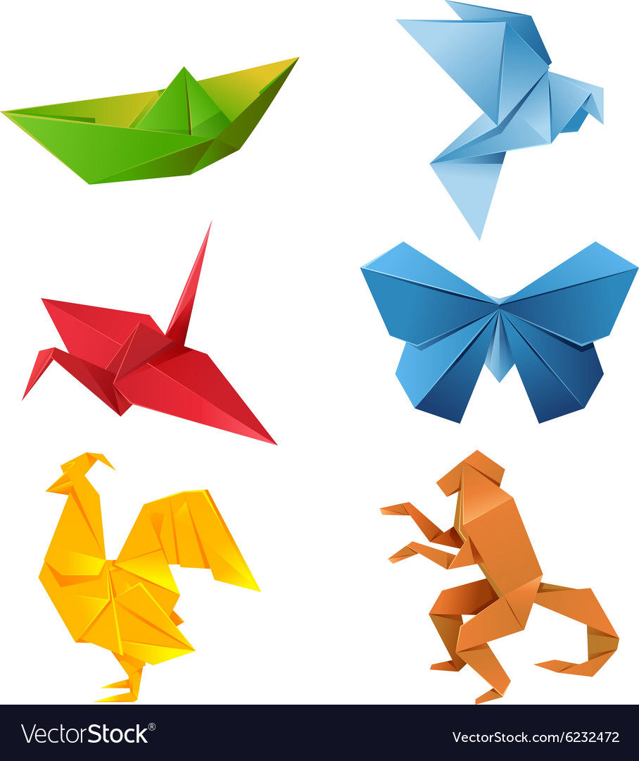 Set of origami animals vector