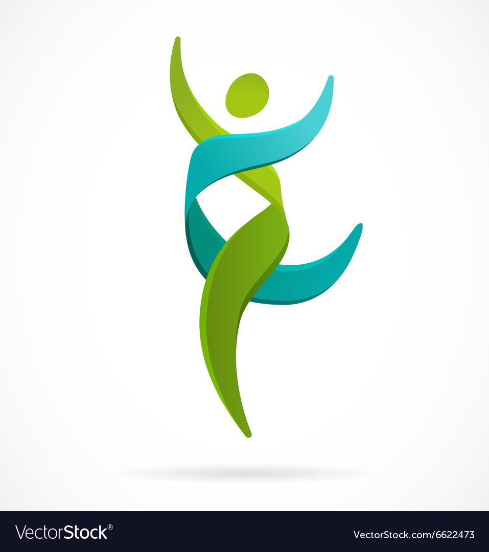 Dna genetic symbol  running and jumping man icon vector