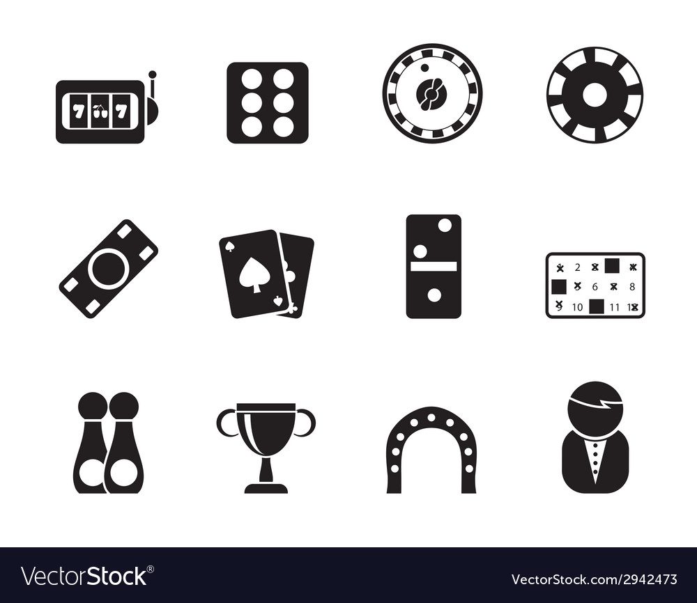 Silhouette gambling and casino icons vector