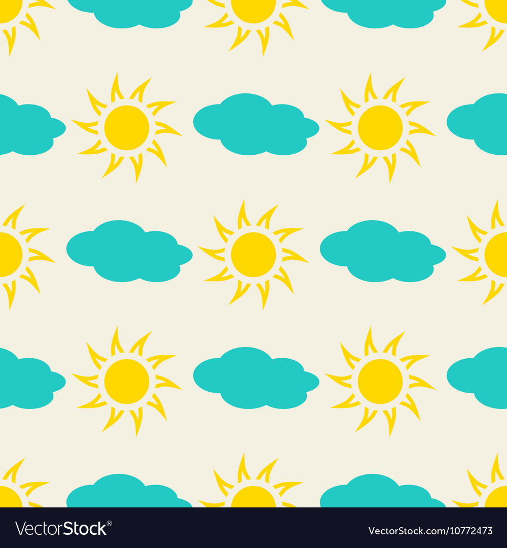 Sun and clouds in the sky seamless background vector