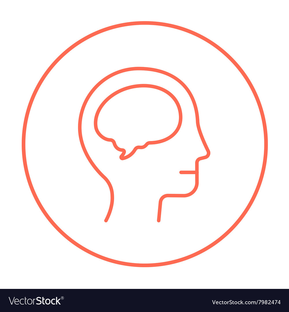 Human head with brain line icon vector