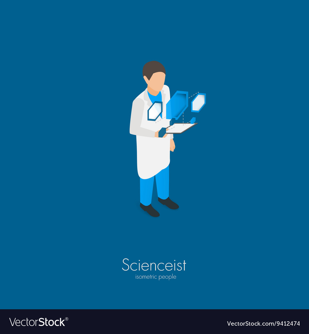 Scientist with tablet pc vector