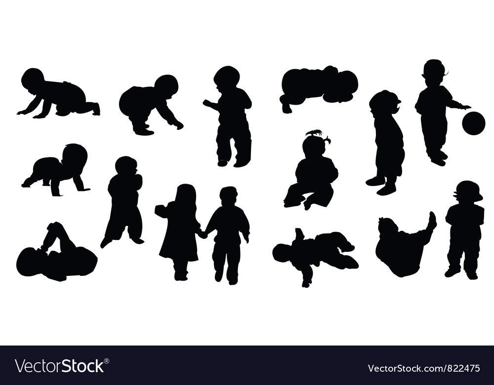 Silhouettes  baby vector