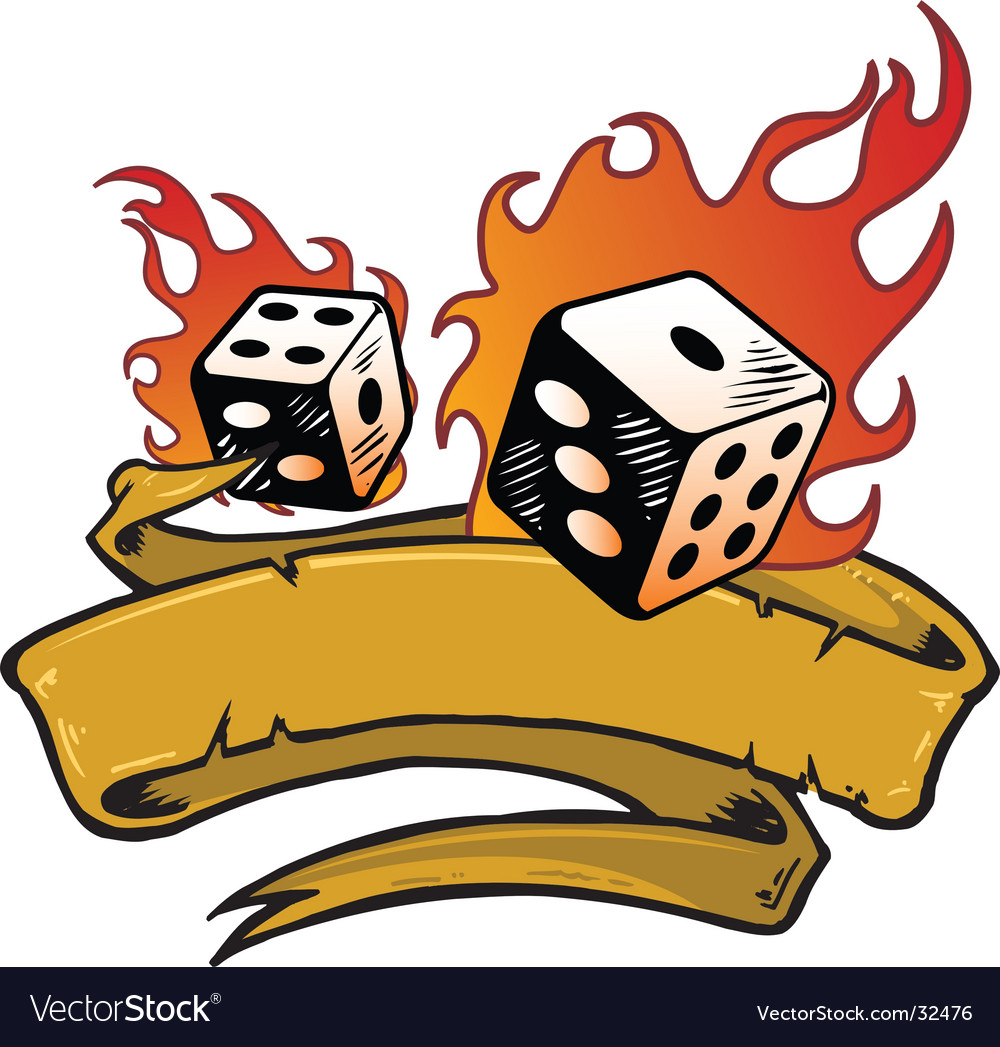 Flaming dice banner vector