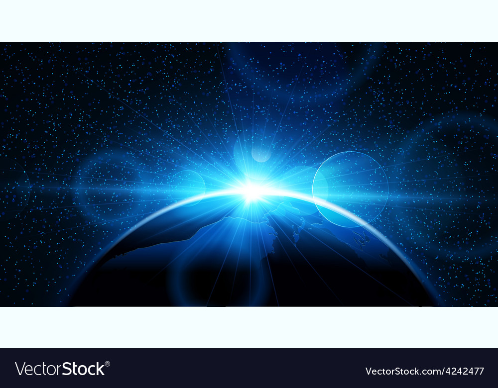 Planet earth with sunrise vector