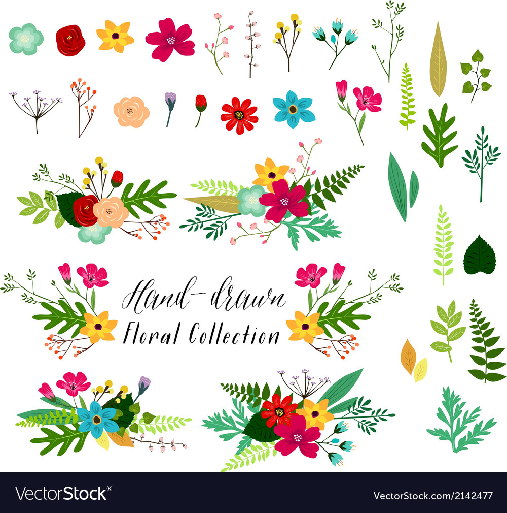 Vintage hand drawn floral vector