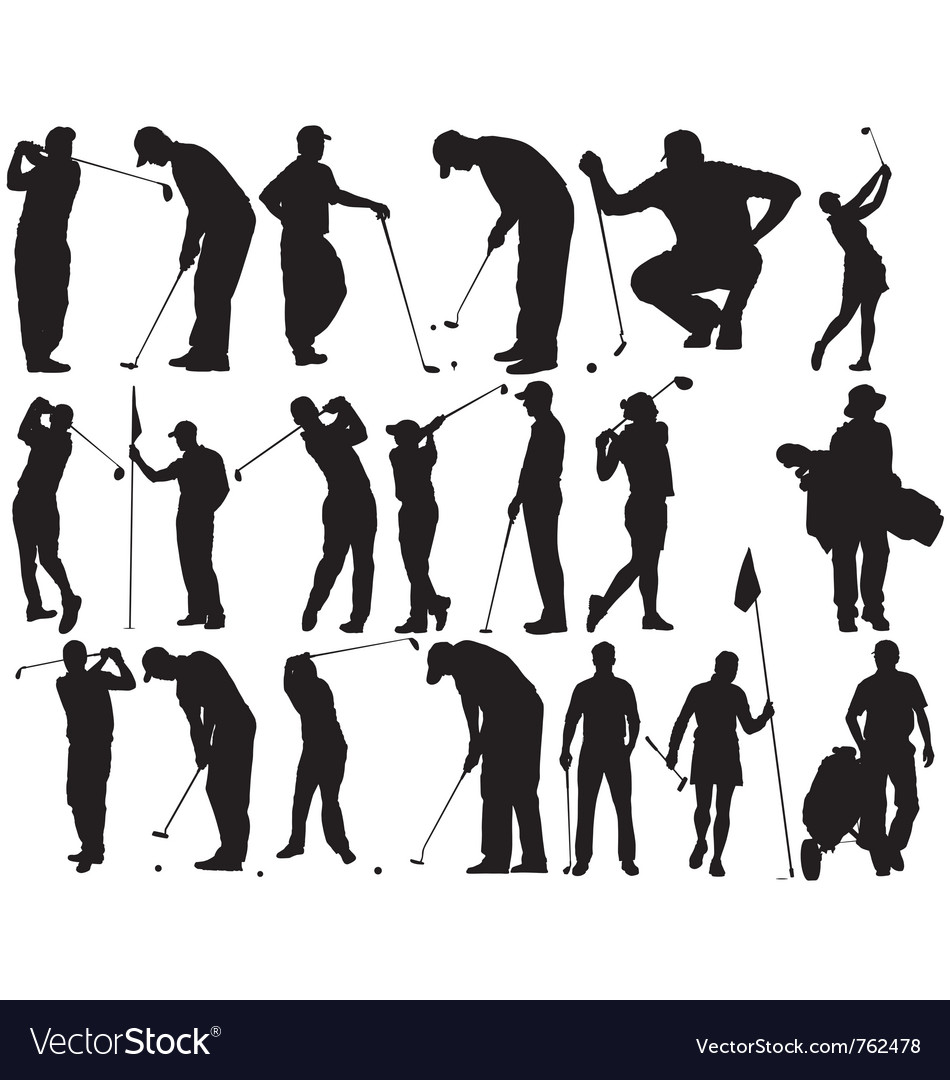 Golfer silhouettes vector