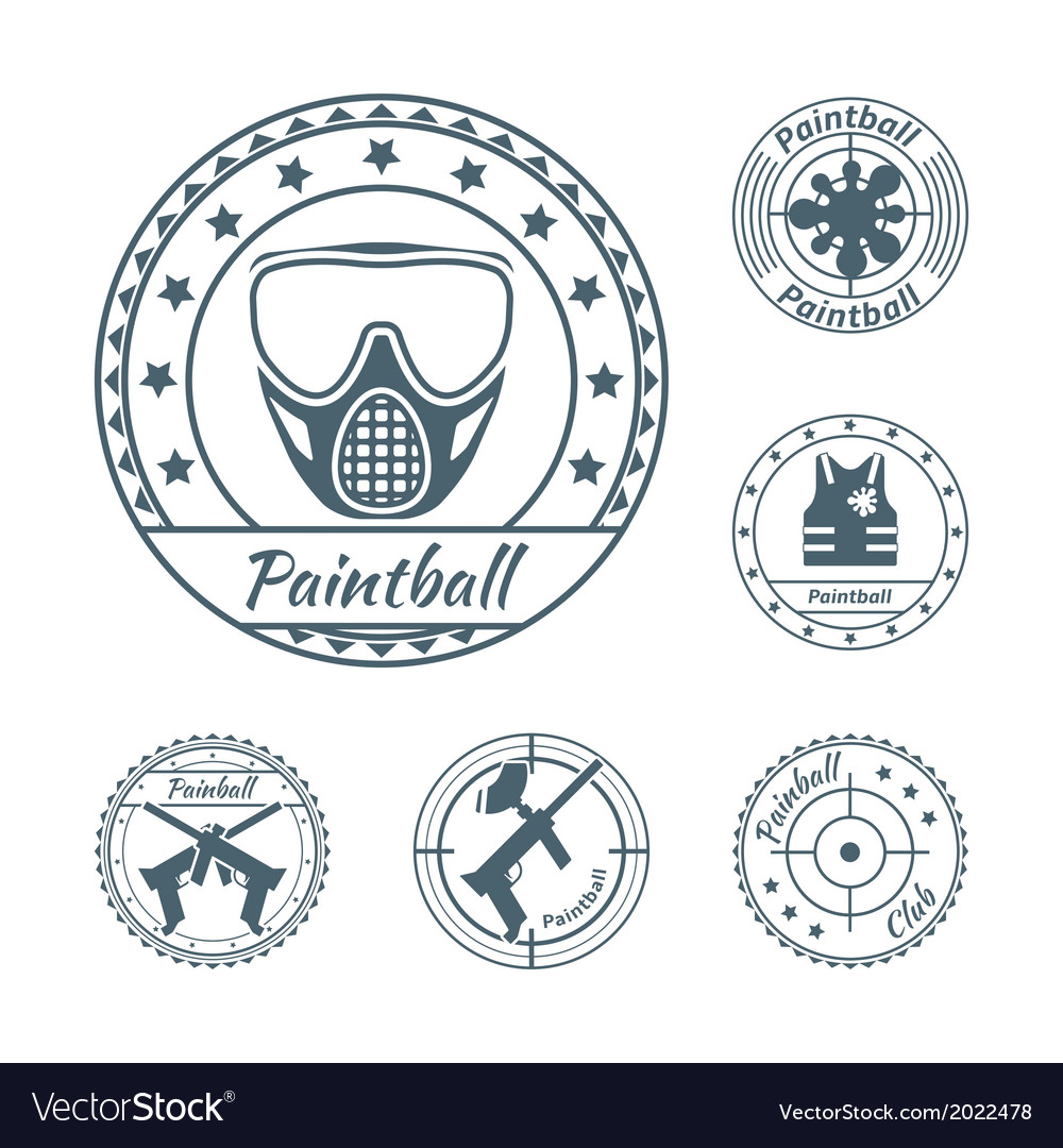 Paintball symbols set vector