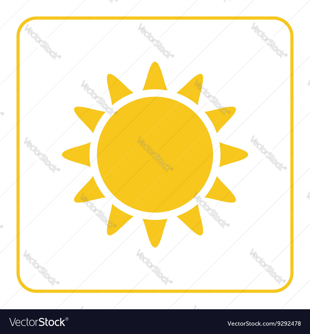 Sun icon light sign with sunbeams yellow design vector