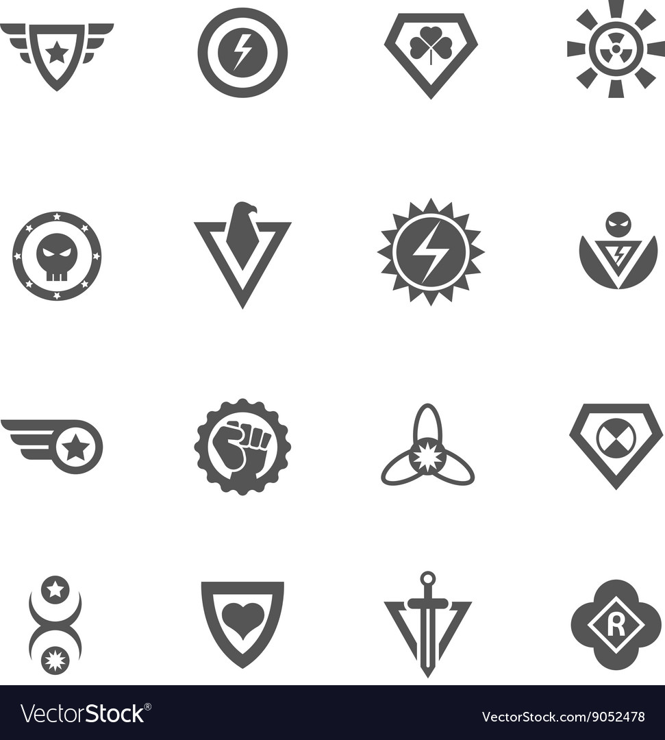 Superheroes black badges vector