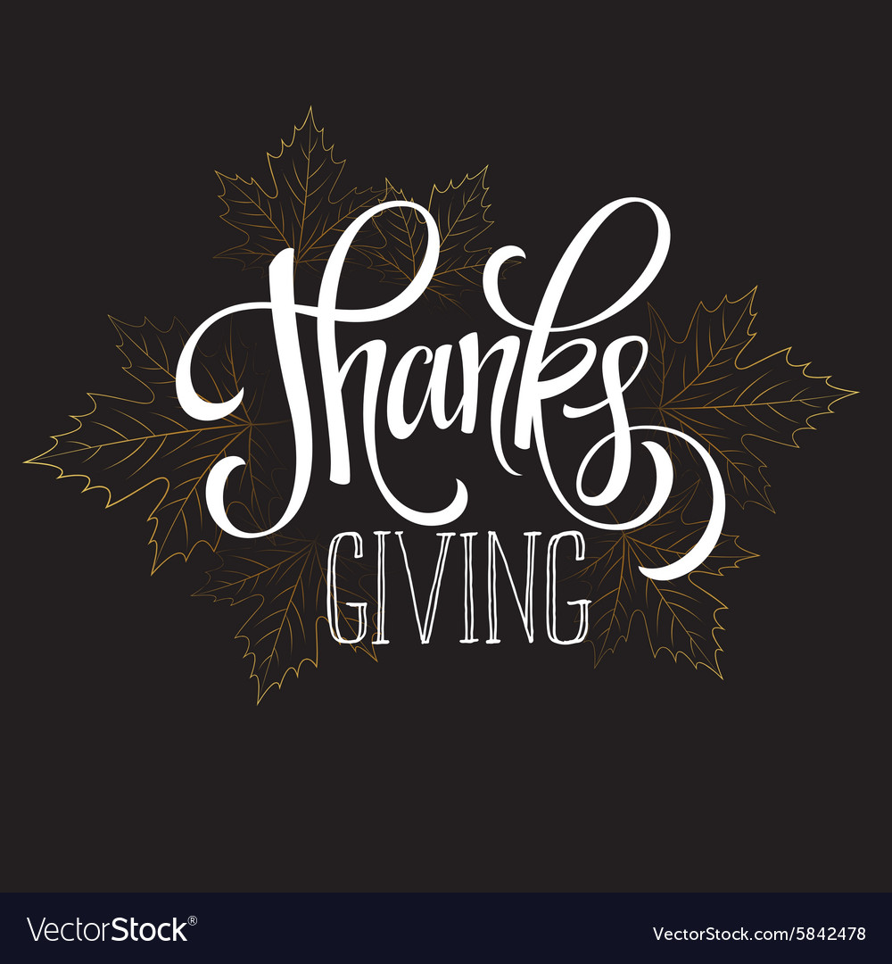Thanksgiving  gold glittering lettering design vector