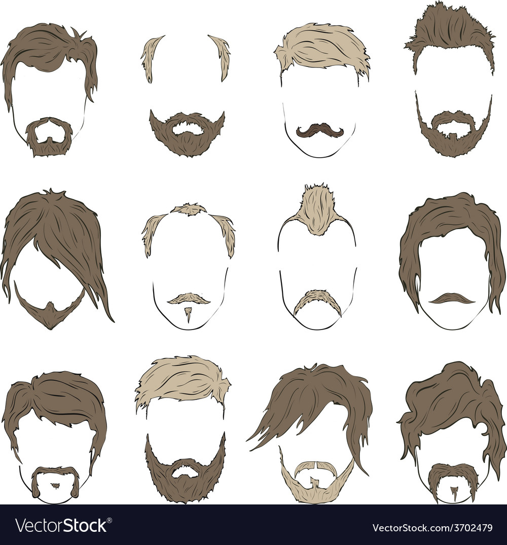 Hairstyles with a beard and mustache vector