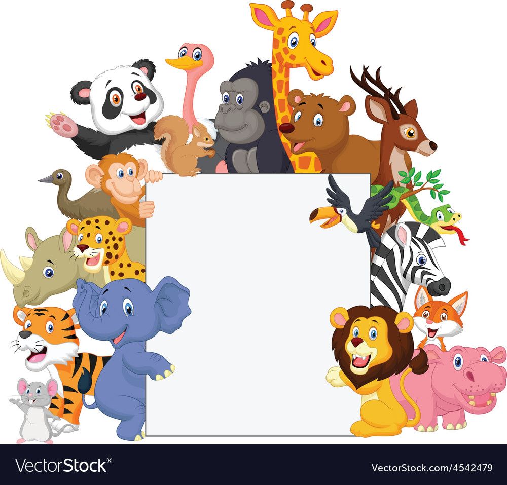 Wild animal cartoon with blank sign vector