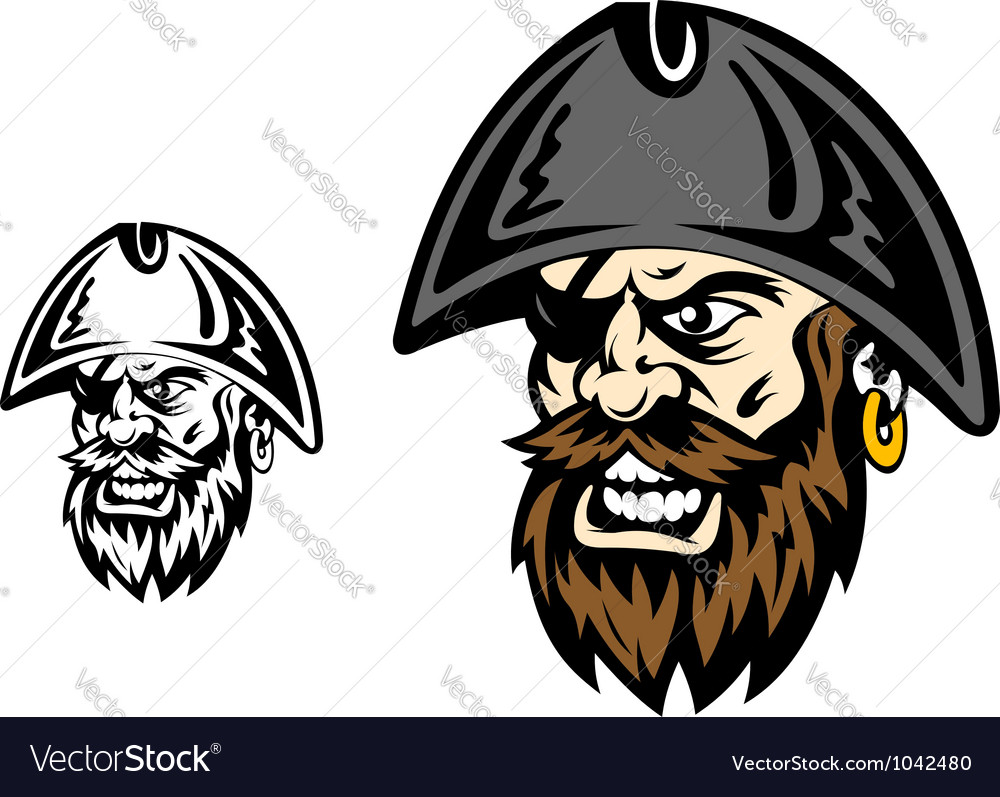 Angry corsair and pirate captain vector