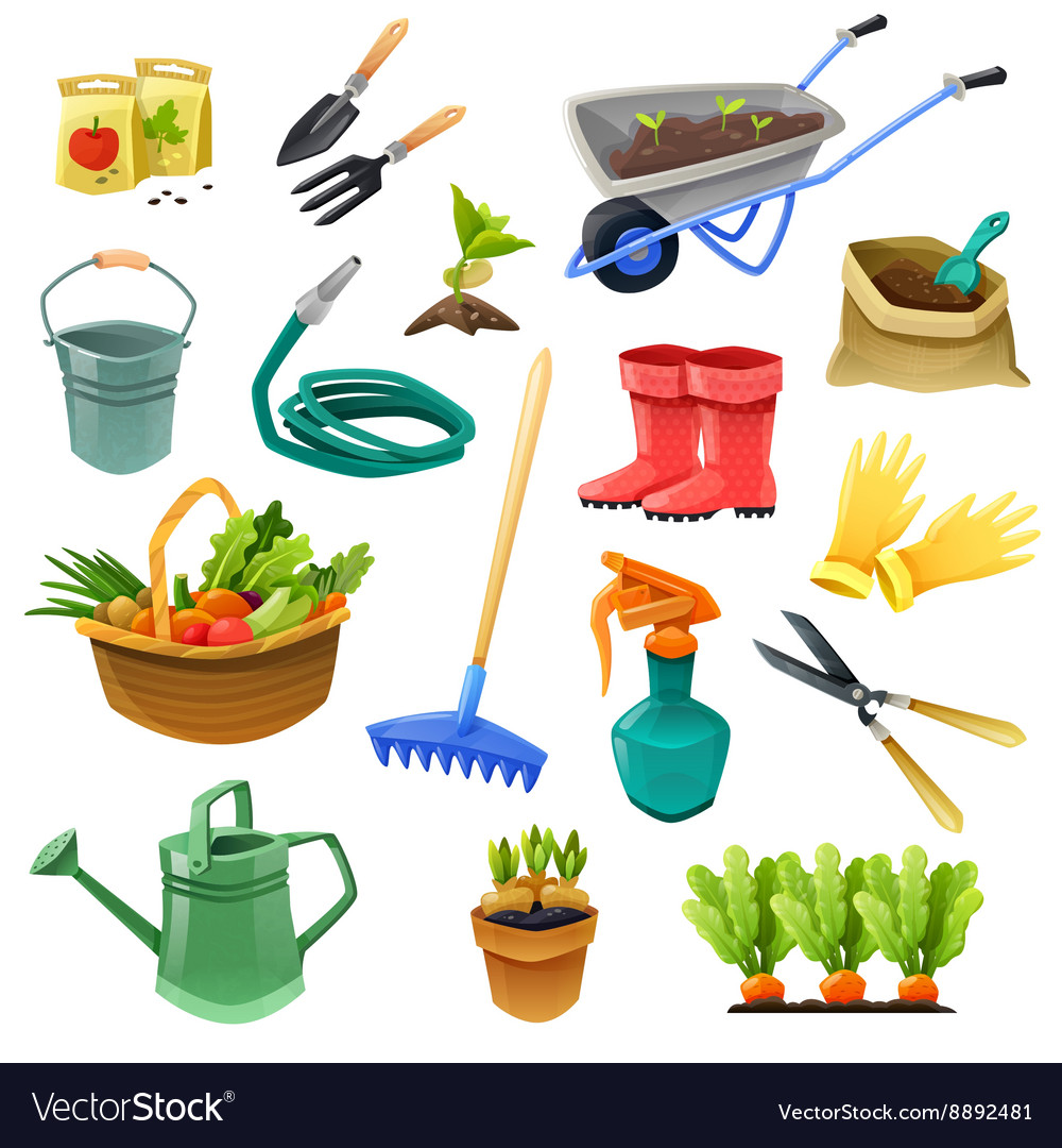 Gardening decorative color icons vector