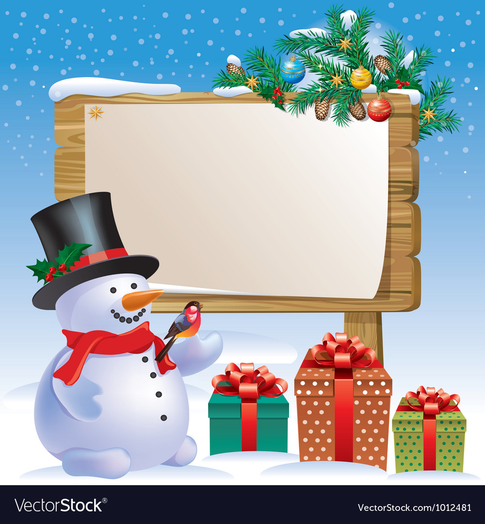 Snowman wooden sign vector